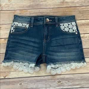 Justice Lace Trimmed Denim Shorts